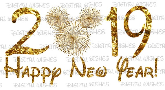 Happy New Year 2019 with gold firework Mickey Mouse head ...