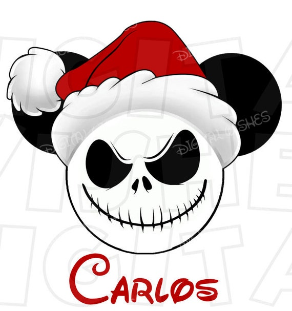c85a60981ba61 Christmas Jack Skellington Mickey Mouse with Santa hat head