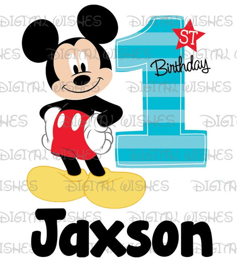 new mickey mouse 1st birthday image personalized name digital etsy5112873 Mickey Mouse 1st Birthday Shirt Diy #14