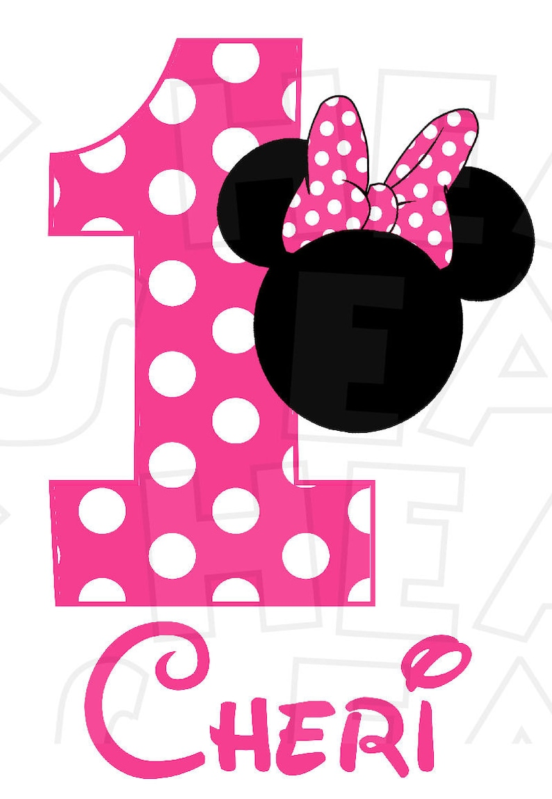 4313a66db Minnie Mouse head choose red hot or light pink Birthday Image | Etsy