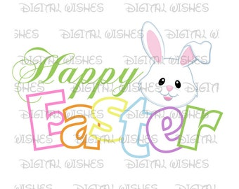 Happy Easter with bunny rabbit Digital Iron on transfer clip art image INSTANT DOWNLOAD DIY for Shirt
