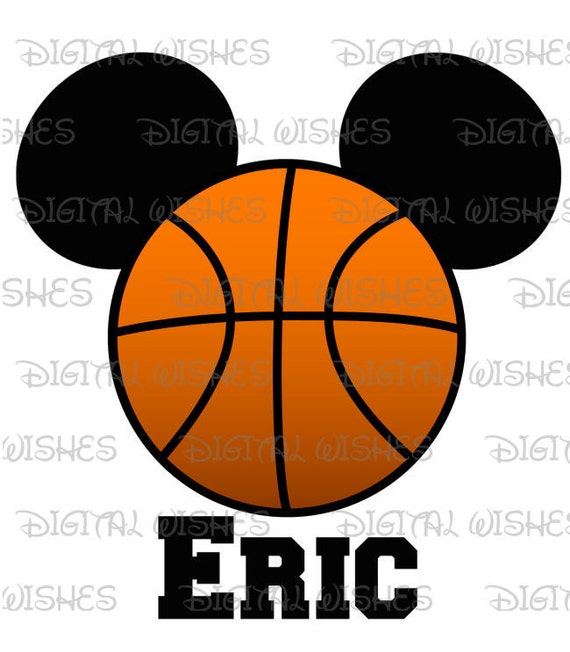basketball mickey mouse ears head digital iron on transfer etsy rh etsy com Mickey Mouse Outline Mickey Mouse Outline Clip Art