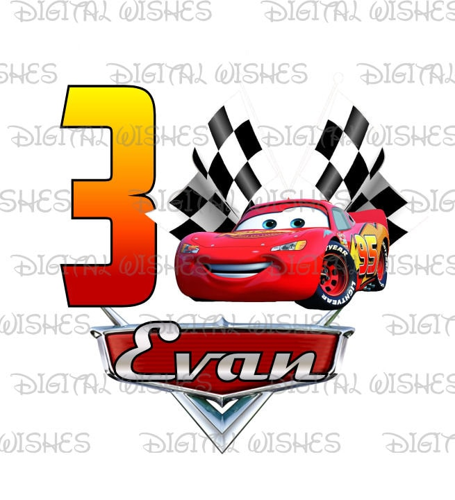 Lightning McQueen from Cars Birthday Image PERSONALIZED name Etsy