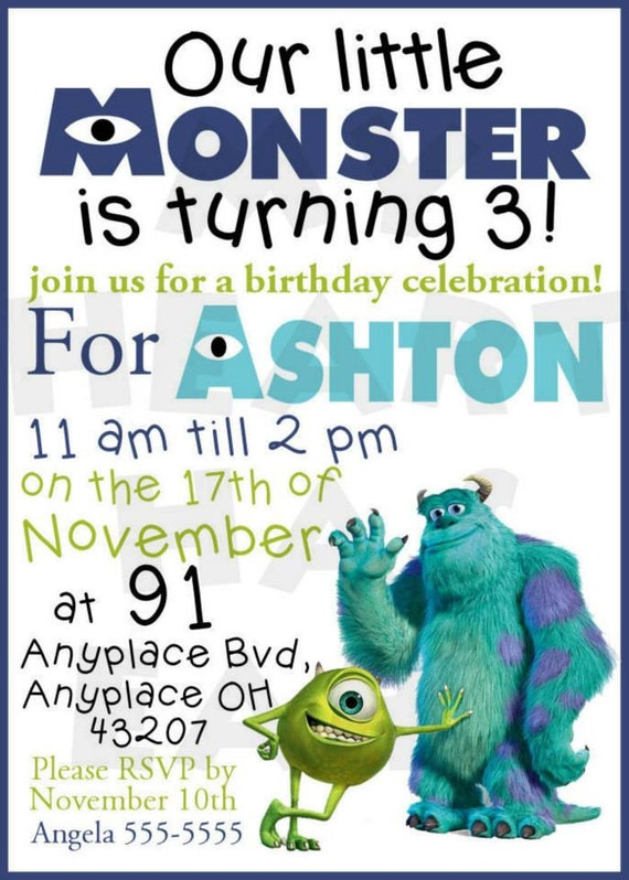 Diy Monsters Inc Birthday Invitation Personalized Name Any Etsy