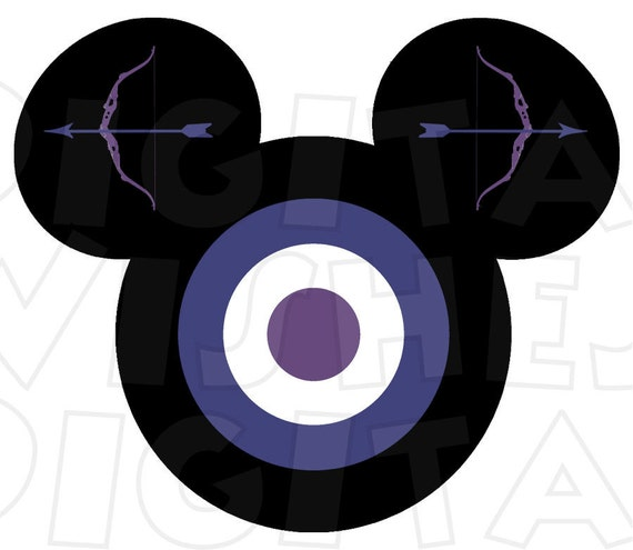 Hawkeye Avengers Mickey Mouse Head Digital Iron On Transfer Etsy