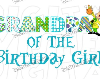 Alice in Wonderland Mad Hatter Grandpa of the Birthday girl Image INSTANT DOWNLOAD digital iron on transfer clip art DIY for Shirt