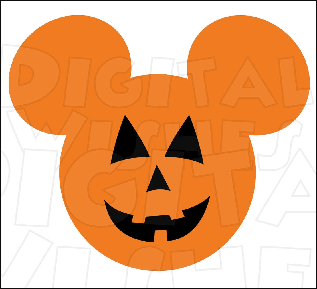 Mickey Mouse Jack O Lantern Pumpkin Head Ears Halloween Etsy Carters 3 Pieces Orange Digital Iron On Transfer Clip Art Image Instant Download Diy For Shirt