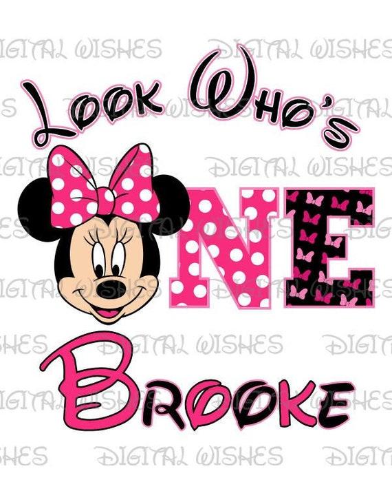 Minnie Mouse 1st Birthday Iron On Transfer W Name 5 X5 5 For Light Fabrics Ebay