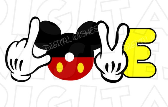 Mickey Mouse Fingers Hands Love Digital Iron On Transfer Clip Etsy