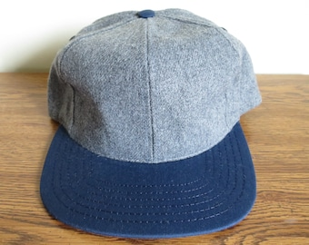 Vintage gray wool and blue cotton visor adjustable snapback cap hat | Made in USA | DEADSTOCK