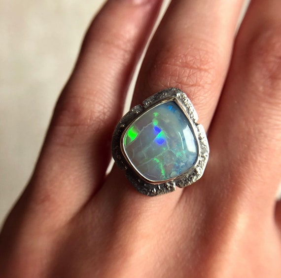 "Sterling silver ""Luna"" ring with Australian Black opal SZ 6"