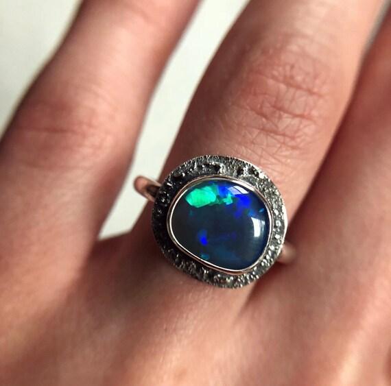 "Sterling silver ""Luna"" ring with Australian Black opal SZ 6.5"