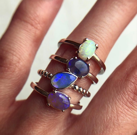 SALE: Sterling silver rings with Australian solid opals SZ 7