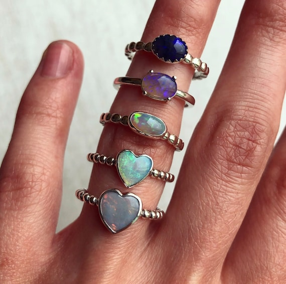 SALE: Sterling silver rings with Australian solid opals SZ 6