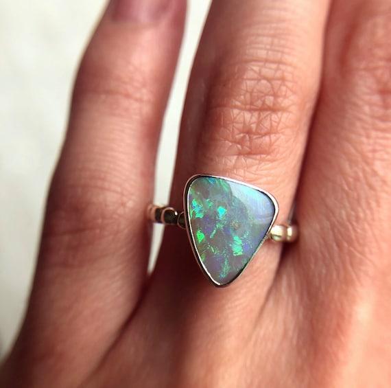 SALE: Sterling silver ring with Australian Black opal SZ 6