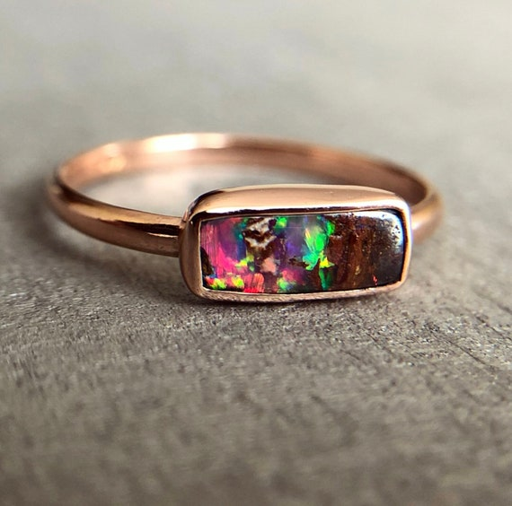 14K rose gold ring with Australian Boulder Opal SZ 8