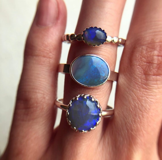 SALE: Sterling silver rings with Australian solid opals SZ 9