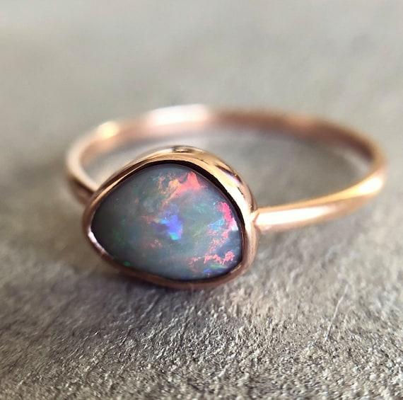 14K rose gold ring with Australian Opal SZ 9