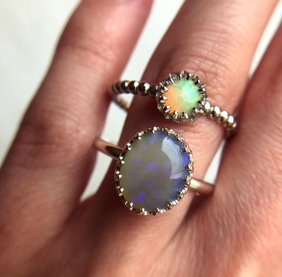 SALE: Sterling silver rings with Australian and Ethiopian opals SZ 10