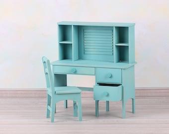1/6 scale secretary desk + chair. Miniature doll furniture, DIY, doll desk/chair for Barbie, YoSD, BJD, Blythe, roombox, dollhouse, diorama