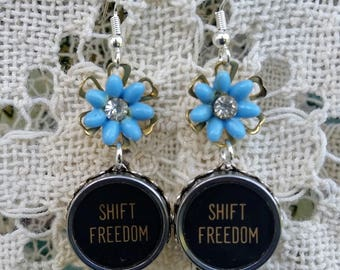 Antique Typewriter Key Jewelry, Shift Freedom Earrings, Black Dangle Earrings, Gift for Writer, Blue Flowers, Vintage Flower Key Earrings