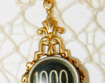 1000 Typewriter Key Necklace Black Antique Key Gold 20 Inch Chain Black Typewriter Jewelry 1000 Number Key Steampunk Necklace Gold Jewelry