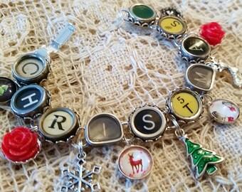 Christmas Typewriter Key Bracelet, Antique Typewriter Jewelry, Charm Bracelet, Holiday Jewelry, Green and Red Bracelet, Christmas