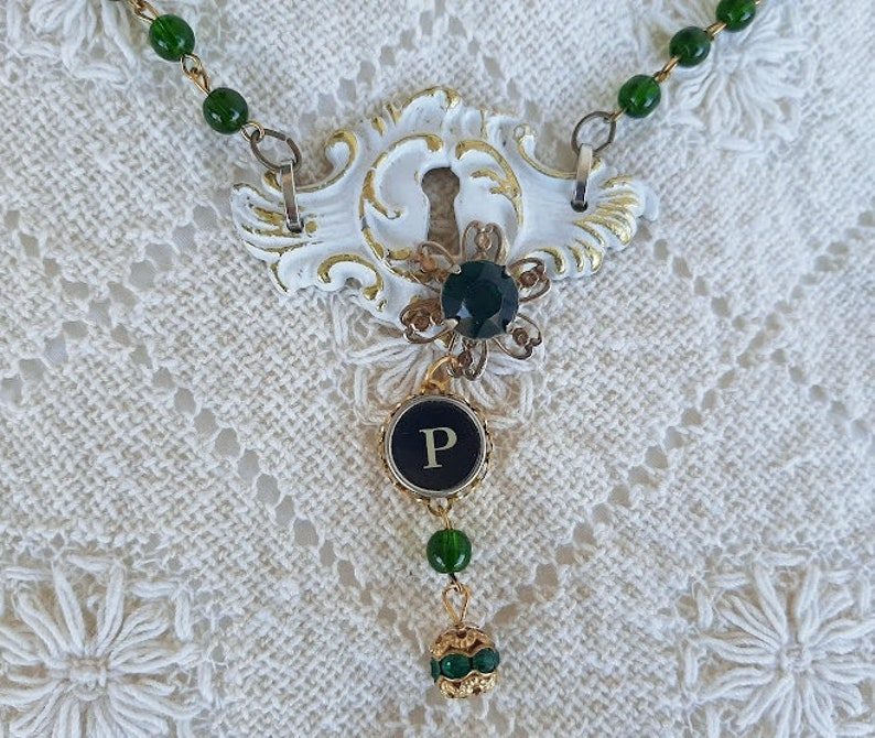 P Typewriter Key Green Bead Chain Drawer Pull Backplate Necklace Assemblage Jewelry Antique Typewriter Key Jewelry Vintage Hardware