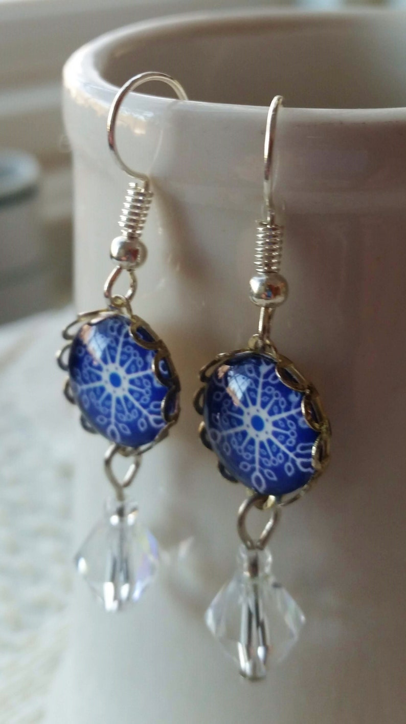 Dangle Snowflakes Holiday Jewelry 12mm Cobalt Blue Glass Cabochons Snowflake Earrings Winter Jewelry Dangle Drop Earrings Crystal Beads