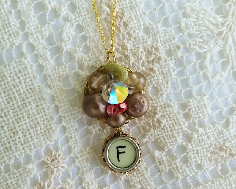 Letter F Monogram Necklace Vintage Upcycled Bead Earring Holiday Necklace Festive Christmas Jewelry F Antique Typewriter Key Jewelry