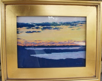 Sunset Over Polpis: Original Pastel Painting by JP Harvey, a Nantucket Artist