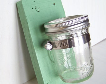 Mason Jar Planter / Hanger / Sconce / Organizer; Recycled / Reclaimed / Salvaged Wood; Mason Jar Decor;  Mint Green; Other colors available!