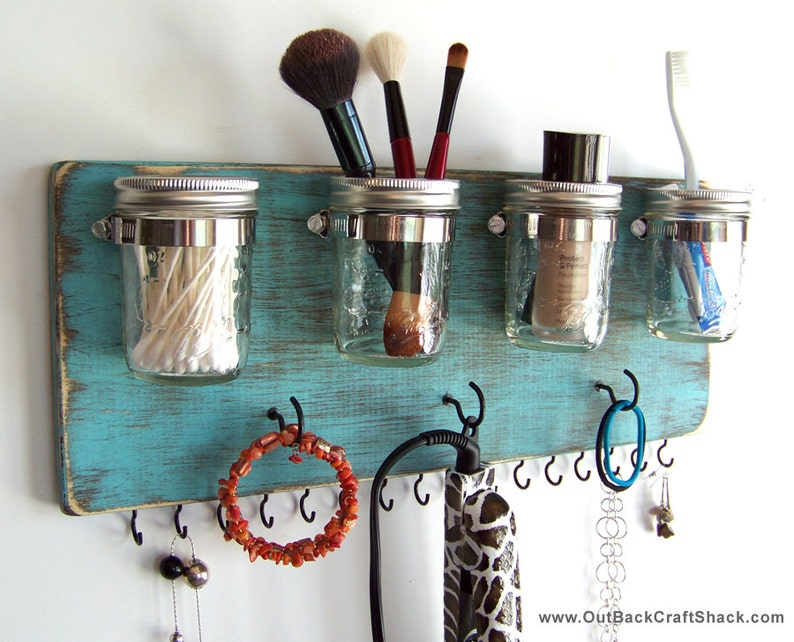 Mounted Mason Jars | Makeup Organizers And Storage Ideas For Makeup Junkies | Makeup Organizers | makeup brush organizer