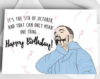 Custom Card Drake Birthday Greeting Drawing Happy