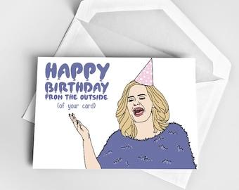 Happy Birthday Greeting Card, Adele Birthday Card, Birthday Card Adele, Greeting Card Birthday, Pun Birthday Card Funny Adele