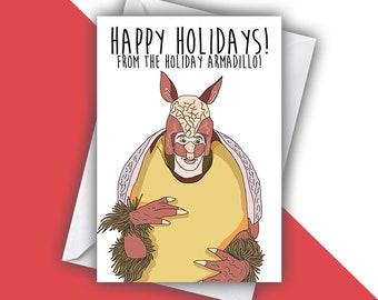 Happy Holidays Card, Holiday Armadillo Seasons Greetings Card, Ross Friends Handmade Greeting Card, Friends TV Show Christmas Greeting Card