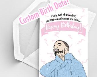 Drake Birthday Card, Happy Birthday Card, Birthday Card Drake, Birthday Card Drake, Greeting Card Birthday, Funny Card, Drake Drawing