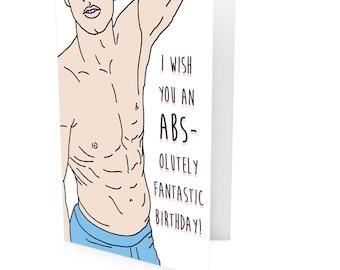Birthday Card, Greeting Card Abs Pun Birthday Card, Pun Birthday Card, Happy Birthday Card, Abs-olutely Pun Birthday Card Greeting Funny