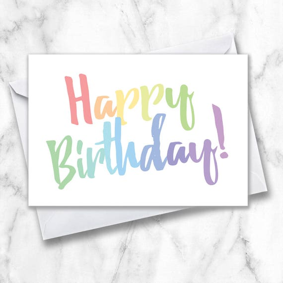 Happy Birthday Greeting Card Simple Birthday Card Rainbow Etsy