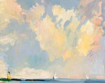 """8 x 10 inch print """"Lifting Fog, Off South Portland""""  10 x 8""""  limited to ONLY FIVE prints. by Henry Isaacs."""
