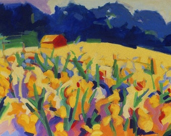 """NEW: Iris Farm,  giclee print, 12 x 19 """", signed and numbered edition 15."""