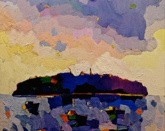 """NEW: Dusk at Monhegan Island, 8 x 8"""" .  Limited edition of 20 signed and numbered prints"""