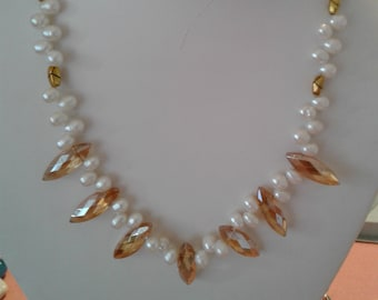 Topaz Glass and Pearl Necklace