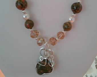 Unikite necklace with wirewrapped pendant
