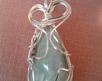 Amazonite  wirewrapped pendant