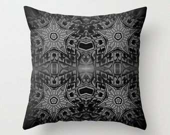 Pillow Cover,Throw Pillow,Gothic Pillow,Dorm Decor,Black Pillow,Living Room Decor,Bedroom Decor,Masculine Decor,Black and White,Office Decor