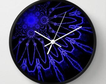 Clock, The Modern Flower Blue & Black Clock, Wall Clock, Flower Clock, Blue Clock, Home Decor, Kitchen Clock, Black and Blue, Blue Flower