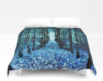 Duvet Cover or Comforter, Magical Forest Path Duvet, Turquoise Teal Blue Bedding, Enchanted Forest Duvet, Magical Bedding,Bedroom Dorm Decor