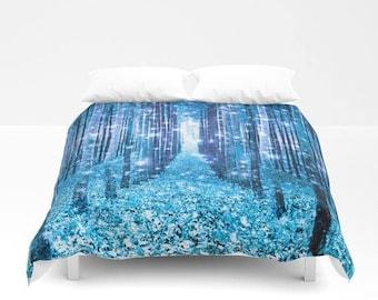 Duvet Cover or Comforter, Magical Forest Path Duvet, Light Blue Bedding, Enchanted Forest Duvet, Magical Bedding, Bedroom Dorm Decor