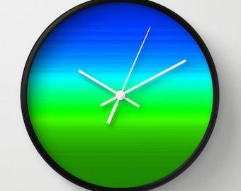 Clock, Blue Aqua Green Ombre Clock, Blue Green Clock, Blue Ombre Clock,  Blue Aqua Green Wall Clock, Blue Ombre, Home Decor, Kitchen Clock